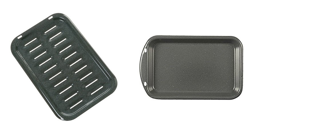 GE WB48K10016 Grid Pan Broil & GE WB48K10015 Oven Grease Pan SET - BOTH PIECES - NEW!
