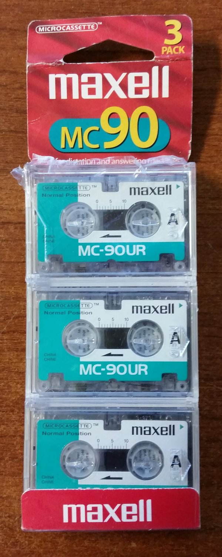 Maxell MC-90UR Micro-cassette tape For dictaphones port - 3 Pack!