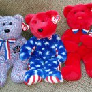Beanie Buddy Lot of 3 PATRIOTIC BEARS - THOMAS, LIBERTY & USA - NEW with TAGS!!