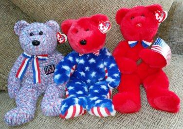 Beanie Buddy Lot of 3 PATRIOTIC BEARS - THOMAS, LIBERTY & USA - NEW with TAGS!!