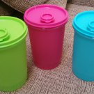 TUPPERWARE HANDOLIER PITCHER #321-6-SET OF 3-VIBRANT COLORS-ONE QUART (32 OZ.)-POUR SPOUT LID-NEW!