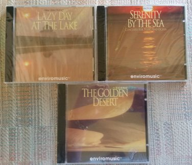 ENVIROMUSIC - LOT OF 3 - LAZY DAY AT THE LAKE, SERENITY BY THE SEA, THE GOLDEN DESERT CD'S