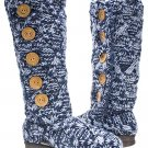 Malena Crocheted Lattice Sweater Winter Boot in NAVY / BABY BLUE by Muk Luks #16306 - SIZE 9!