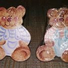 TEDDY BEAR DIE-CUT WOODEN HAND-PAINTED DRAWER KNOBS PULLS - SET of 4 - SIGNED by ARTIST!