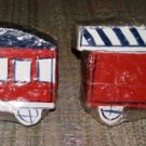 CHOO CHOO TRAIN CAR WOODEN HAND-PAINTED DRAWER KNOBS PULLS - SET of 4 - SIGNED by ARTIST!