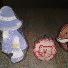LITTLE GIRL, KITTY CAT & ELEPHANT WOODEN HAND-PAINTED DRAWER KNOBS PULLS-SET of 4-SIGNED by ARTIST!