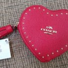 COACH EDGE GOLDTONE STUDS RED HEART COIN CASE IN CROSSGRAIN LEATHER with TASSEL - NEW with TAG!