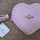 COACH EDGE SILVERTONE STUDS PINK HEART COIN CASE IN CROSSGRAIN LEATHER with TASSEL - NEW with TAG!