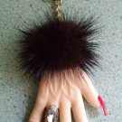 GENUINE MINK CUFF HAND with Marquis Ring & Red Finger Nails Key Holder Keychain Key fob - SEXY!