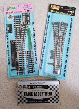 ATLAS NICKEL SILVER SNAP SWITCH #851, CUSTOM-LINE TURNOUT #260, TRACK ASSORTMENT #847 LOT