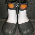 "POLLIWALKS KIDS ""TOYS FOR FEET"" PENGUIN GRAY/WHITE RAIN BOOTS - SIZE 8 - BRAND NEW!"