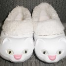 """POLLIWALKS KIDS """"TOYS FOR FEET"""" KITTY CAT WHITE/PINK FURRY-LINED SLIP ONS - SIZE 8 - BRAND NEW!"""