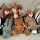TY BEANIE BABIES - RETIRED - LOT #2 of 8 WILDLIFE ANIMAL BEANIES - NEW WITH TAGS!