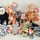 TY BEANIE BABIES - RETIRED - LOT of 8 ZOO ANIMAL BEANIES #1 - NEW WITH TAGS!