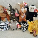 TY BEANIE BABIES - RETIRED - LOT of 8 ZOO ANIMAL BEANIES #2 - NEW WITH TAGS!