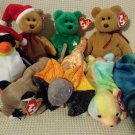 TY BEANIE BABIES - RETIRED - LOT of 8 MISC. ANIMAL BEANIES #2 - NEW WITH TAGS!