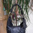 Kenneth Cole New York Hudson Rivet V Hobo Purse Bag -Black Leather with Silver Studs -NEW with TAGS!