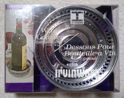 Irvinware Chrome Wine Bottle Coaster 1976 in packaging - Made in USA!