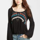 Free People 'New World' Long Sleeve Top #F645U745 - Black - Size Large - New with Tag