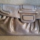 Bill Blass New York Vintage Silver Pewter Leather Clutch with Teal Suede Lining - New with Tags!