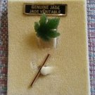 Vintage TARAXCA Genuine Jade Maple Leaf Tie Tack Pin - INTRICATELY DETAILED!