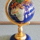 Genuine Multi-Gemstone Desktop Globe Gold Tone Navy Blue Globe & Base!