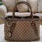 Gucci Sukey GG Satchel Tote #296835 Beige Canvas/Leather - GUARANTEED AUTHENTIC - New with Tags!