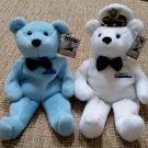 """Titanic Bean Bag Teddy Bears """"The Captain"""" & Bear #2 - 1999 Dart Flipcards - 8"""" - NEW with Tags!"""