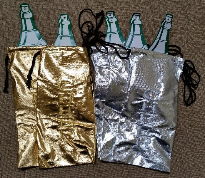 """Gold & Silver """"CHEER"""" Metallic Wine Bottle Gift Bags - 13""""H x 6-1/2""""W - Lot of 5!"""