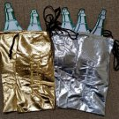 "Gold & Silver ""CHEER"" Metallic Wine Bottle Gift Bags - 13""H x 6-1/2""W - Lot of 5!"