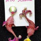 Betsey Johnson Glitter Reef Koi Fish Sea Pink/Red Druzy Mismatch Earrings!