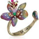 Betsey Johnson Womens Pink and Gold Tone Flower Statement Hinged Bracelet!