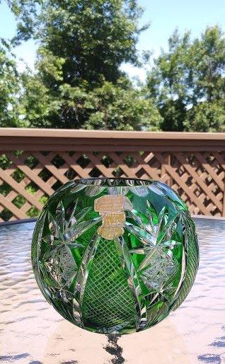West Germany Bavaria Hand Cut Lead Crystal Emerald Green Glass Rose Bowl - Original Labels!