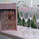 Pfaltzgraff Secret Rose Glassware Champagne Flute - 4 pieces - Made in France - New in Box!
