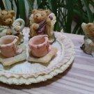 Vintage Popular Imports Polystone Resin 10 Piece Mini Tea Set 'Angel Bears' - NIB - RARE!