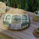 Vintage Popular Imports Polystone Resin 10 Piece Mini Tea Set #TS504 'Gazebo' - NIB - RARE!