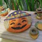Vintage Popular Imports Polystone Resin 10 Piece Mini Tea Set 'Happy Halloween' - NIB - RARE!