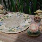 Vintage Popular Imports Polystone Resin 10 Piece Mini Tea Set #TS496 'Fountain Garden' - NIB - RARE!