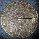 "Solid Brass Zodiac Theme Sundial - 9.5"" in diameter - HEAVY!!"