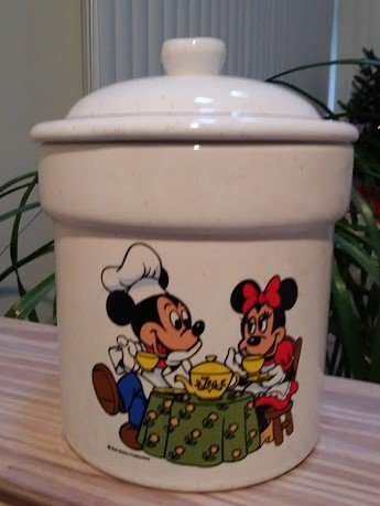 Vintage Walt Disney Cookie Jar Canister Mickey Mouse Minnie by Treasure Craft - RARE!