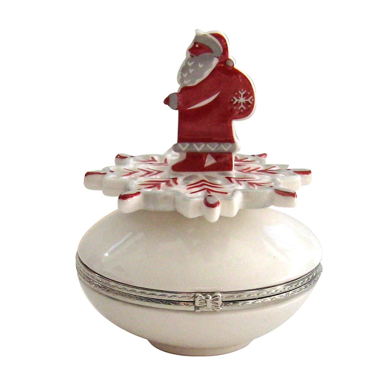 Villeroy & Boch 'Snow Treats' Hinged Porcelain Treat Box with Santa on a Snowflake!