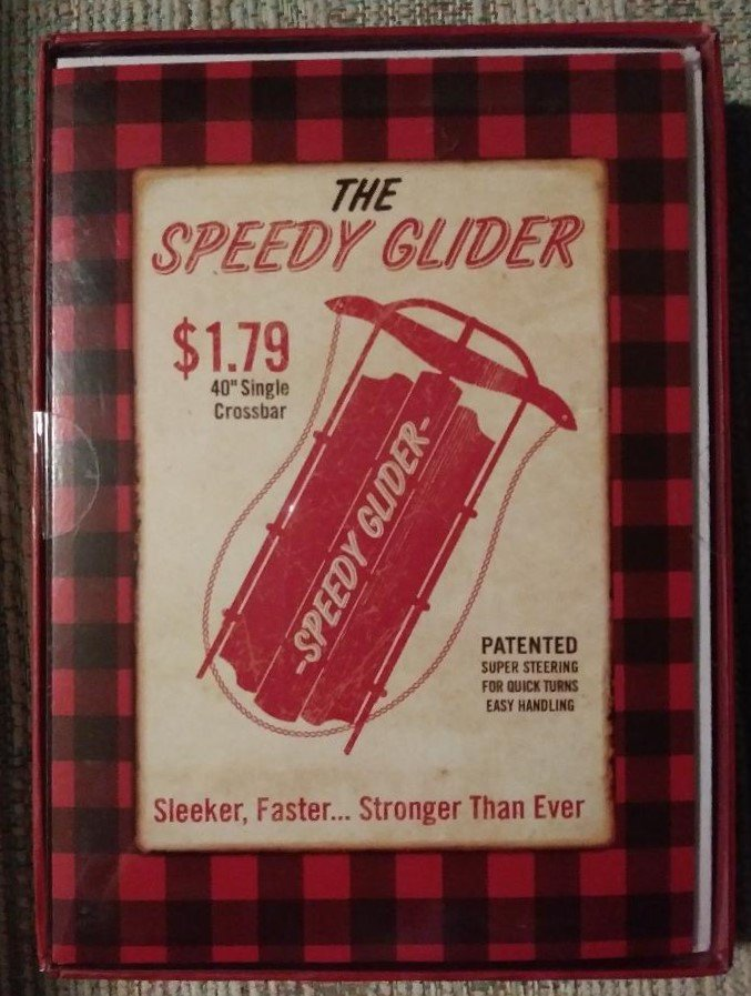 American Greetings RETRO STYLE All Purpose Ink Boxed Christmas Cards-'The Speedy Glider'-Box of 18!