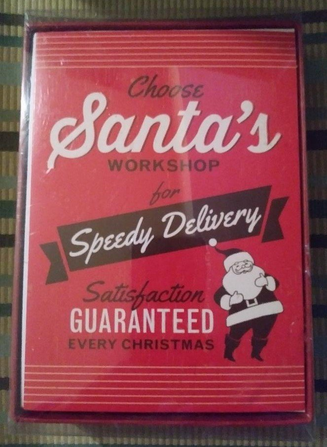 American Greetings RETRO STYLE All Purpose Ink Boxed Christmas Cards-'Choose Santa's Workshop'!