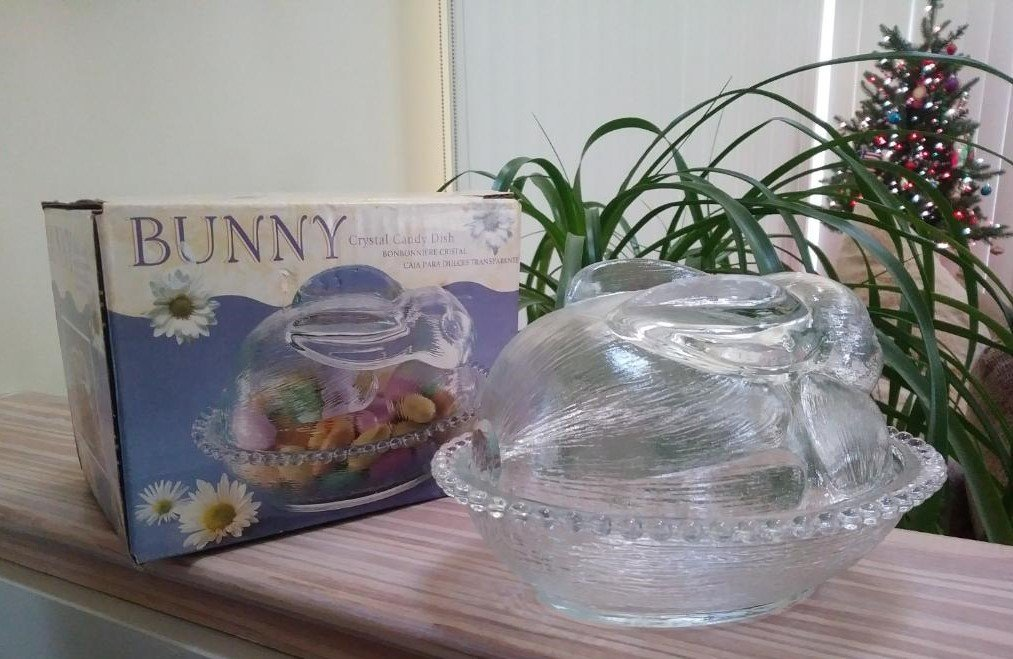 Vintage Indiana Glass Rabbit on a Nest Candy Dish - Clear Glass Rabbit Covered Dish - Glass Bunny!