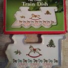 """One Holiday Hostess Train Shaped Christmas Candy Dish 7 1/2"""" - Made in Japan!"""