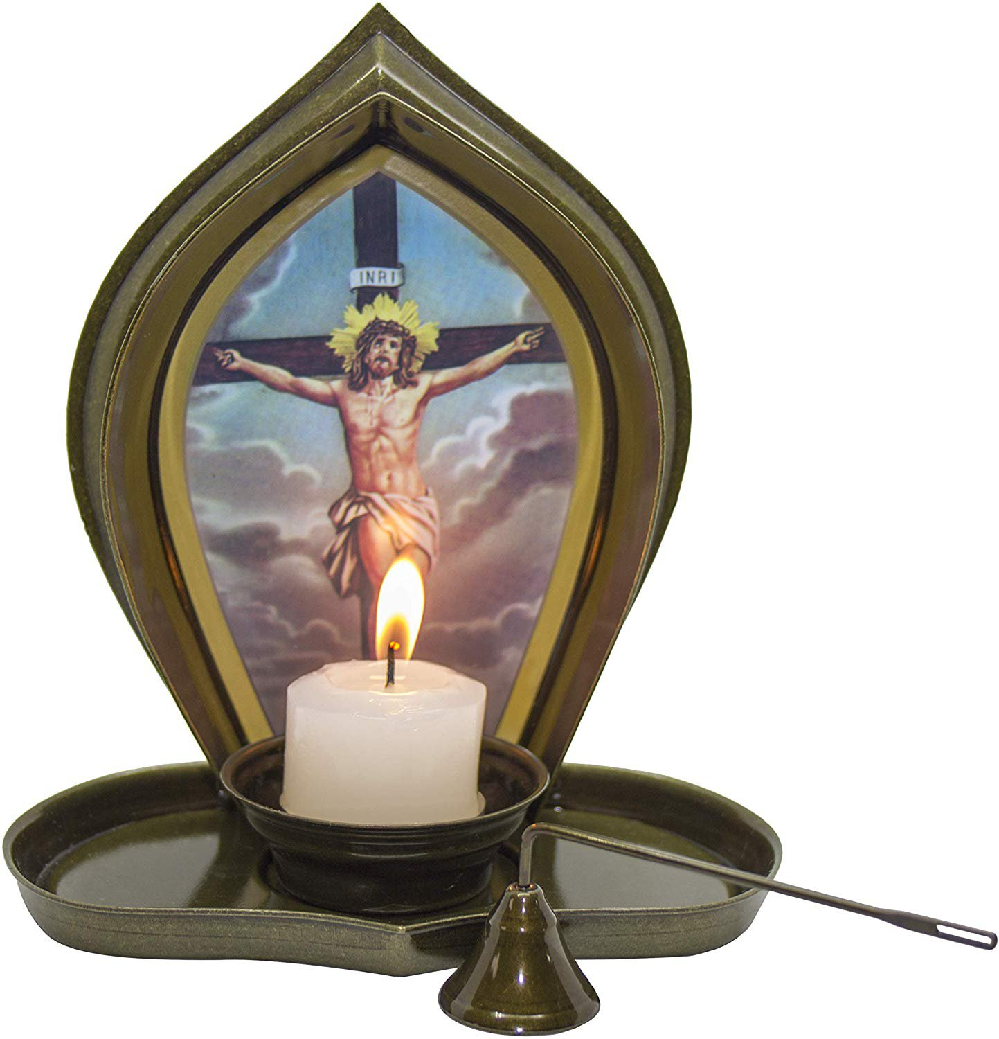 Divine Light Christian Religious Candle Holder Illuminated Picture of Jesus Christ on Crucifix