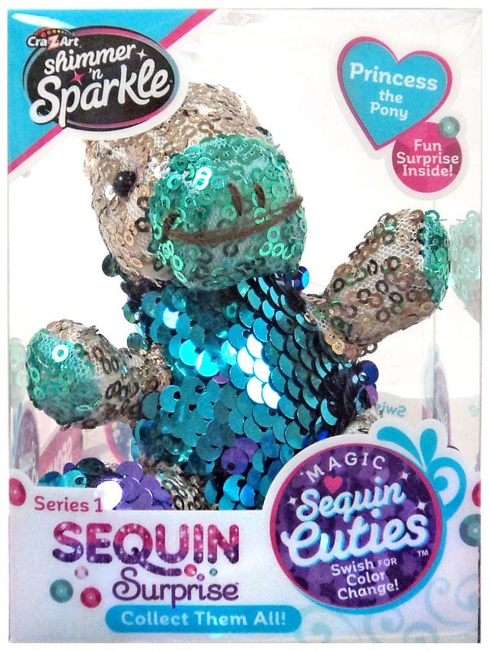Shimmer 'n Sparkle Magic Sequin Cuties Sequin Surprise Series 1 Princess the Pony Mini Plush