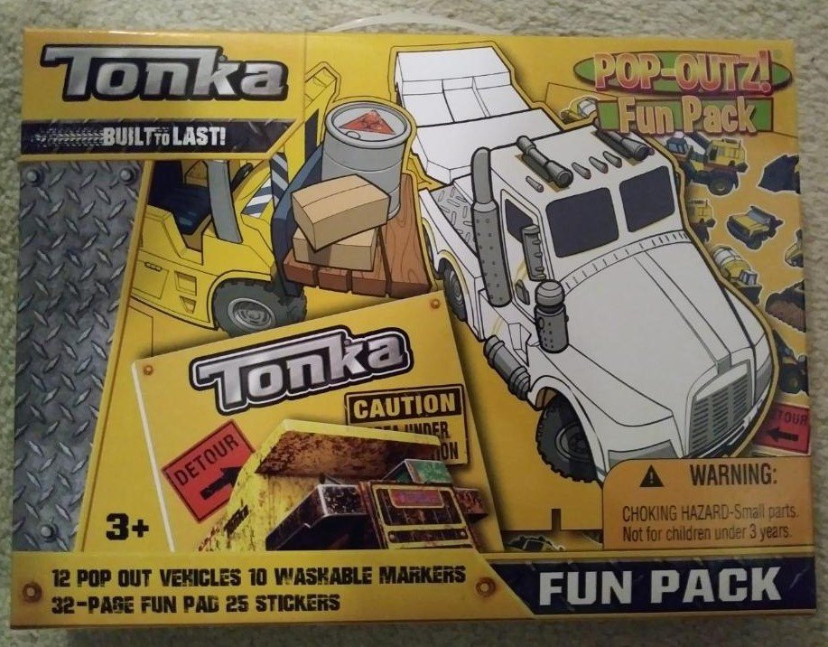 Tonka Pop Outz Fun Pack by Hasbro - 12 Pop Out Vehicles - New - Factory Sealed