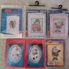 Christmas Counted Cross Stitch Kits - Lot of 6 - Card Kits & Ornament Kits!