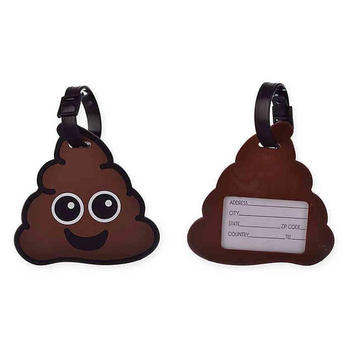 Luggage Tag 'Poop' Emoji with ID Card 6x2x4 Inches!